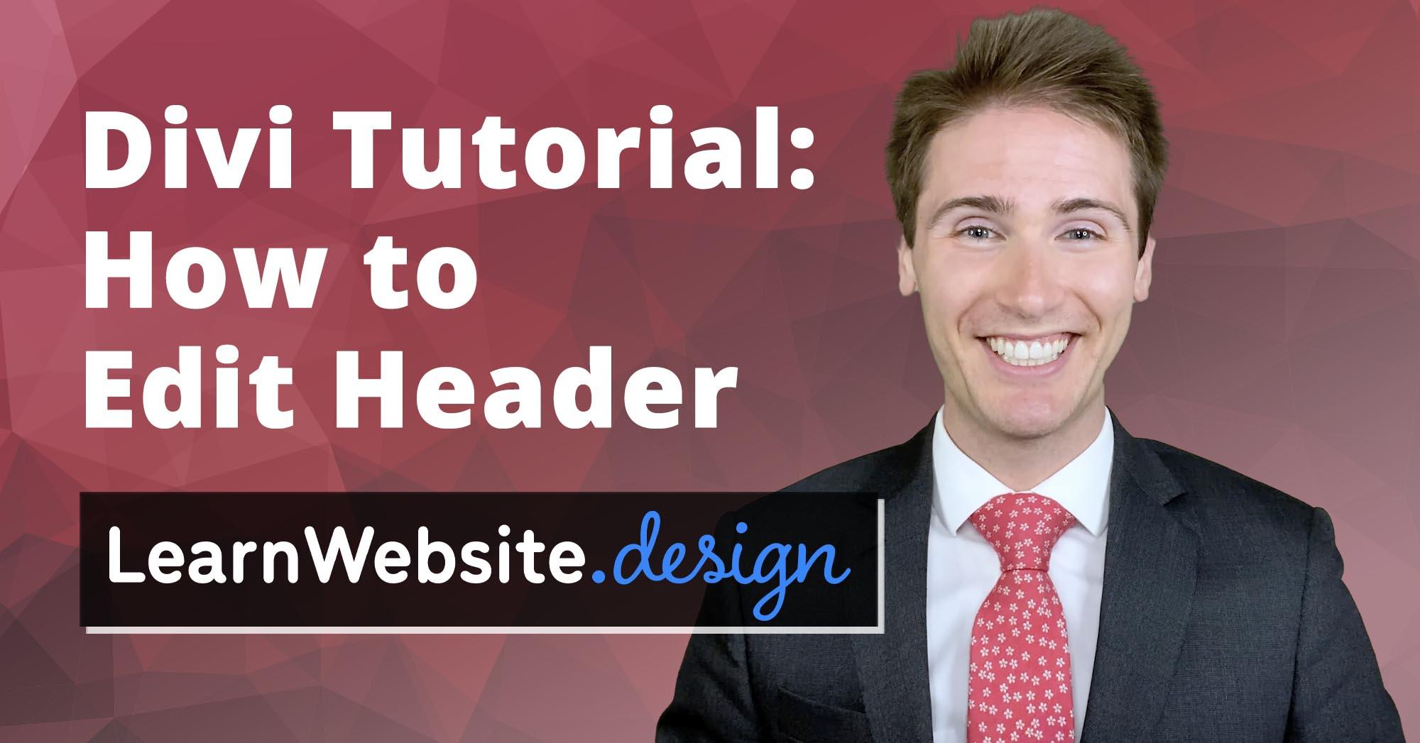 Divi How to Edit Header Tutorial
