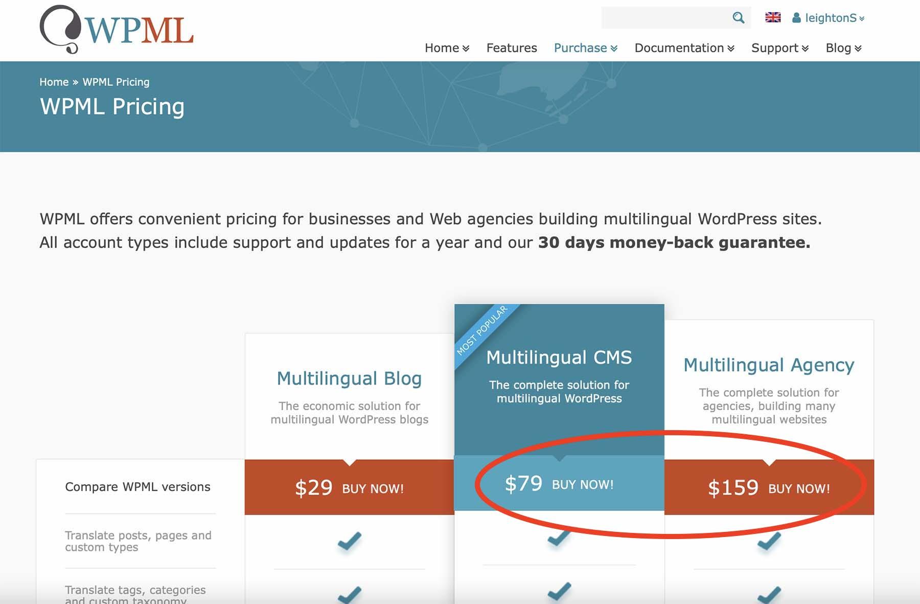 WPML Purchase CMS